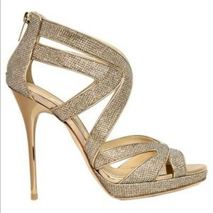 Jimmy Choo Collar 120 Platform Heels Gold Glitter